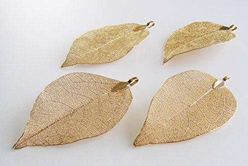 Leaf Pendant - Natural Electroplated Filigree Metal Leaf BEEZZY BEEDZ (24K Gold plaiting)