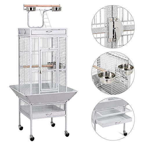 Yaheetech Large OpenTop Parrot Bird Cage PlayTop Finch House Pet Supply White 61