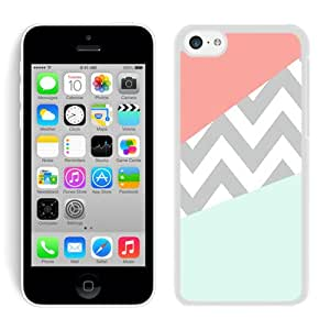iPhone 5C Case Coral Mint Grey Chevron White Screen Phone Case Charming and Nice Design