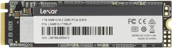 Lexar SSD NVMe M.2 1TB NM610 Type2280 PCIe3.0x4 NVMe 国内正規品 3年保証 LNM610-1TRBJP