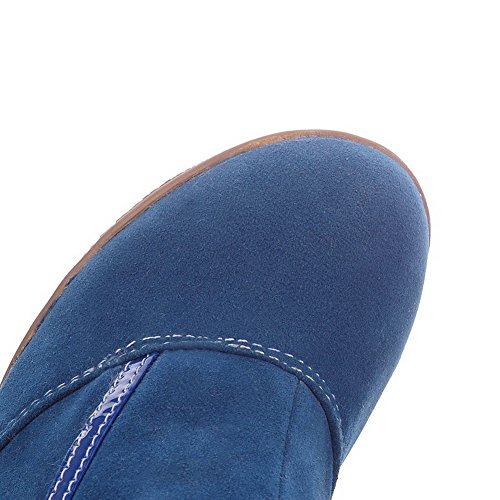 AllhqFashion Womens Low-top Buckle Frosted High-Heels Round Closed Toe Boots Blue PnxbMFsOs