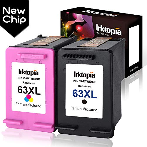 Inktopia Remanufactured Ink Cartridge Replacement for HP 63XL 63 XL (New Updated Chip) Black and Color use with HP Officejet 5255 5258 3830 3833 4650 Envy 4520 4516 DeskJet 1112 2132 3633 3634 Printer