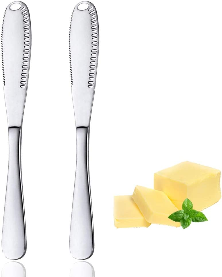 2 Pack Butter Knife, Stainless Steel Butter Spreader, 3 in 1 Multi-Function Butter Curler & Spreader with Serrated Edge for Butter Cheese Jams Jelly(Silver)