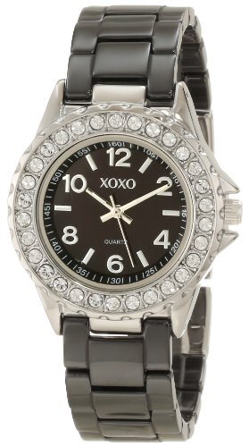 XOXO Women's XO2006 Swarovski Crystal Accented Silver-Tone Black Ceramic Bracelet Watch