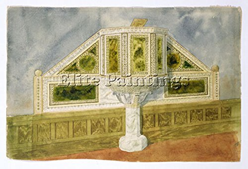 TIFFANY DESIGN FOR MARBLE PULPIT CA 1900 ARTIST PAINTING OIL CANVAS REPRO DECO 16x24inch ()