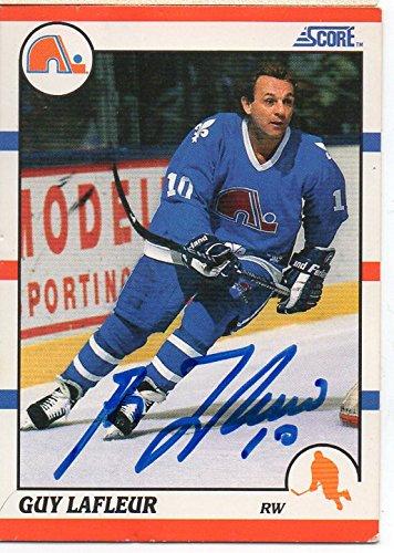 Guy LaFleur Autographed Hockey Card Quebec Nordiques 1990 Score