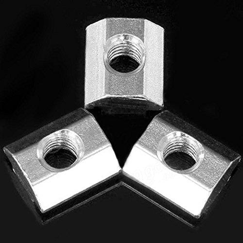 SODIAL 50pcs M5 T Schiebemutter Zin-Plated Kohlenstoffstahl T Nut fuer 2020 Aluminiumprofil