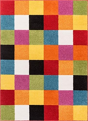 Well Woven Modern Rug Squares Multi Geometric Accent 5 x 7 Area Rug Entry Way Bright Kids Room Kitchn Bedroom Carpet Bathroom Soft Durable Area Rug