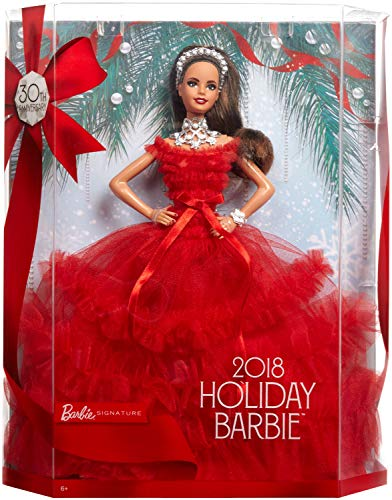 Barbie 2018 Holiday Doll, Brunette with Ponytail