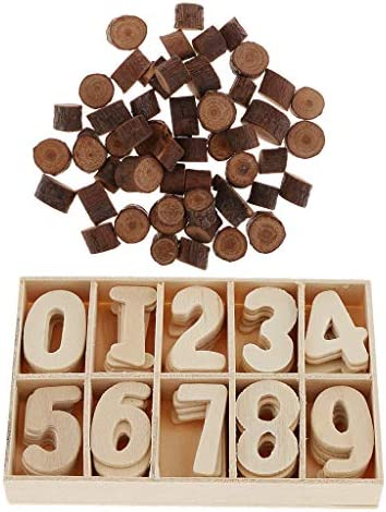 約50個木片入り 天然木 約60個木製 ナンバー入り パズル 数字タイル キューブ ブロック 工芸品