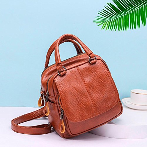 School Vintage Leather Zipper Schoolbags Shoulder BANAA Backpack Design Travel Satchel with Student Bag Pocket Bag Handbag Brown Girl Messenger Bag ZUxrUSnf4