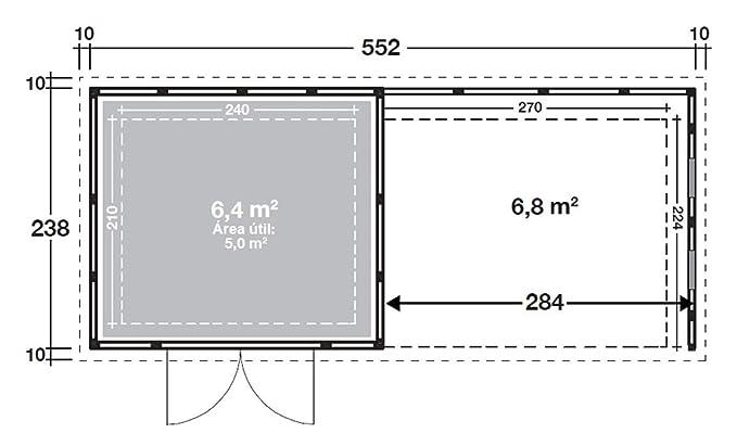 NOVO HABITAT Caseta de Jardin metálica NH6 con Apoyo e Ventanas | Gris Claro | (268 x 238) + (284 x 238): Amazon.es: Jardín