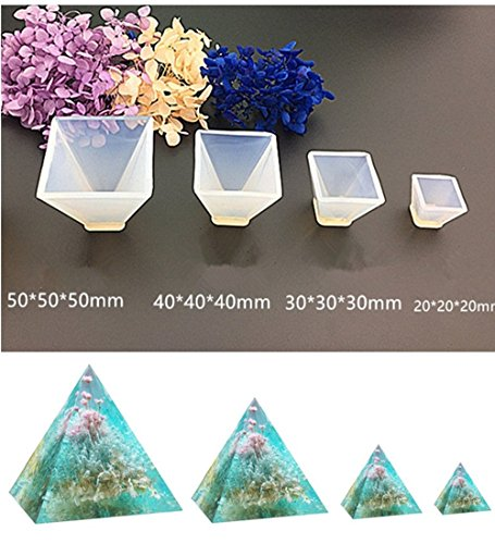 Pyramid Jewelry Casting Molds Silicone Resin Jewelry Molds for DIY Jewelry Craft Making By Garloy,The Multi-faceted Silicone Mold for Making Polymer Clay, Crafting, Resin Epoxy(Pack of 4) (Pyramid Mold Silicone)