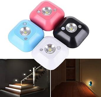 Mini Sensor LED inalámbrico Lámpara de luz nocturna PIR Sensor de movimiento por infrarrojos Activado para lámpara de pared Escalera de gabinete Luz, rojo: Amazon.es: Iluminación