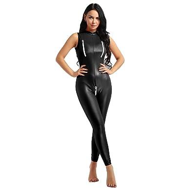 eee735487a0c6f TiaoBug Women s Front Crotch Zipper Jumpsuit Catsuit Romper Wetlook  Bodysuit Sexy Clubwear Stripper Leather Lingerie Black