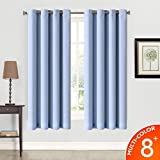 Balichun Thermal Insulated Blackout Grommet Window Curtains and Drapes for Living Room and Bedroom, 2 Panels (52*63, Blue)