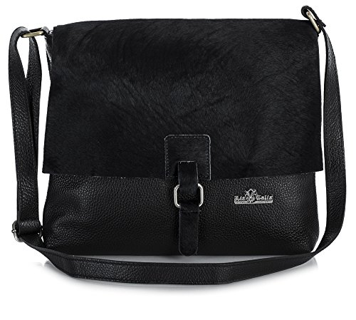 LiaTalia Genuine Italian Leather Buckle Effect Crossbody Messenger Bag With Protective Dust Bag - Kate (Black - Black) by LiaTalia Vera Pelle Made In Italy