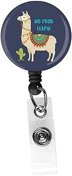 Name Nurse Decorative Badge Reel Clip on Card Holders NO Prob-Llama Retractable ID Card Badge Holder with Alligator Clip