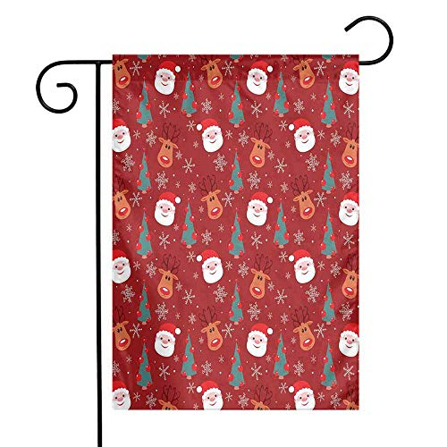 Mannwarehouse Red Garden Flag Smiling Cartoon Santa with Rudolph Tree and Snowflakes Merry Christmas Holiday Premium Material W12 x L18 Red Multicolor