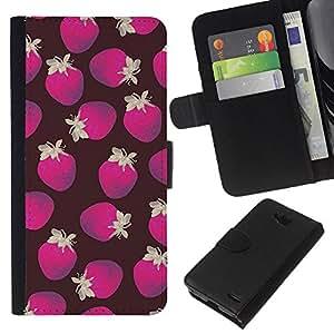 KingStore / Leather Etui en cuir / LG OPTIMUS L90 / Purple Pattern Strawberry Brown