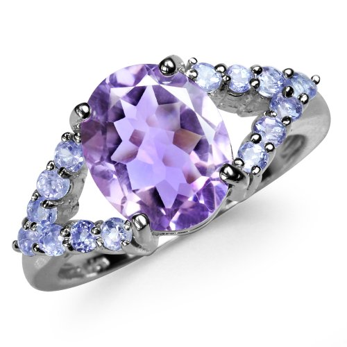 5.06ct. Natural Amethyst & Tanzanite 925 Sterling Silver Glamorous Ring Size 7