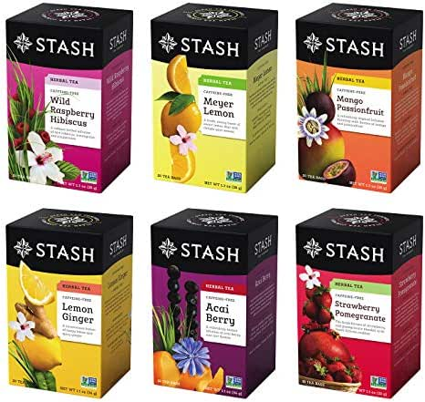 Stash Tea, Fruity Herbal Tea Six Flavor Assortment, 116 Count Tea Bags in Foil (Pack of 6 boxes of 18-20 bags each) Variety of Herbal Tisane
