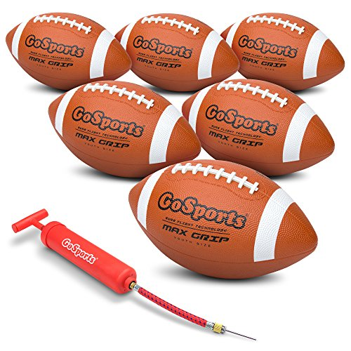 GoSports Rubber Footballs - 6 Pack of Youth Size Balls with Pump & Carrying Bag]()
