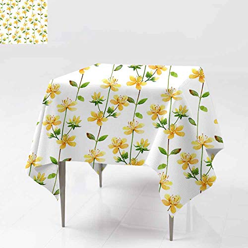Fbdace Anti-Fading Tablecloths,Seamless Floral Pattern with Hypericum Flowers Party Decorations Table Cover Cloth 54x54 Inch