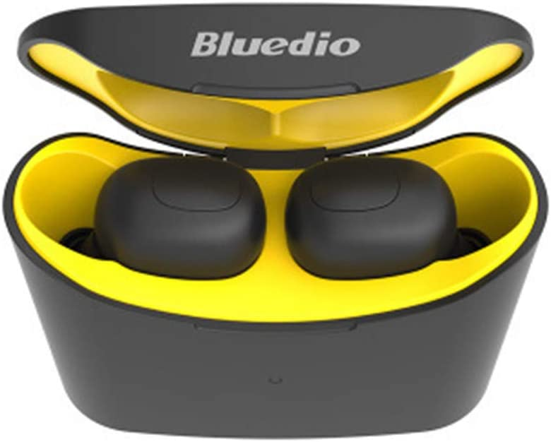 Estuche para auriculares, Webla, Bluedio T-Elf Auricular inalámbrico con auriculares deportivos Bluetooth 5.0 con caja de carga, ABS + PC Amarillo (YE)