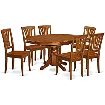 East West Furniture AVON7-SBR-W 7-Piece Dining Table Set, Saddle Brown Finish