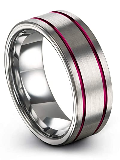 Chroma Color Collection Anillo de Boda de tungsteno de 8 mm para Hombres y Mujeres,