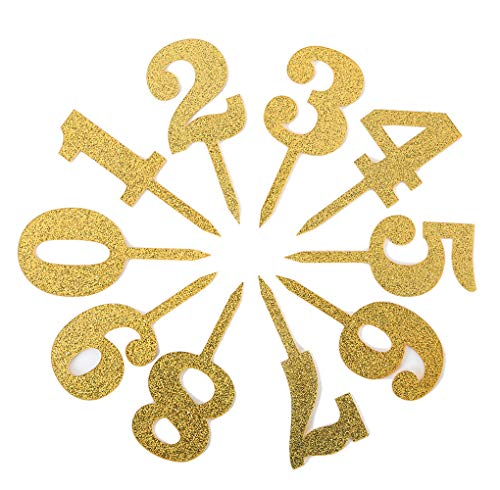 """Gold Acrylic Number Cake Toppers Table 0-9 Numbers 5"""" Tall i"""
