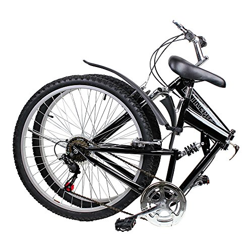 Foldingblack 26 Inch Folding Mountain Bicycle, Shimano 6 Speed - Black