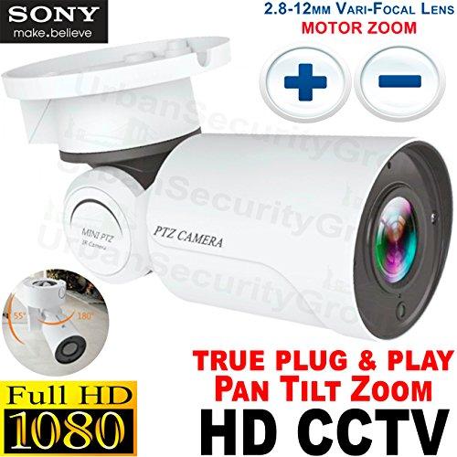 USG PTZ Pan Tilt Zoom Bullet Security Camera : Motorized Lens & Housing : 1080P 2MP@30FPS, 2.8-12mm Auto-Focus Lens, IR LEDs, IR-Cut, WDR, Motion Detection, DNR, HD-TVI, HD-CVI, AHD, Analog CVBS