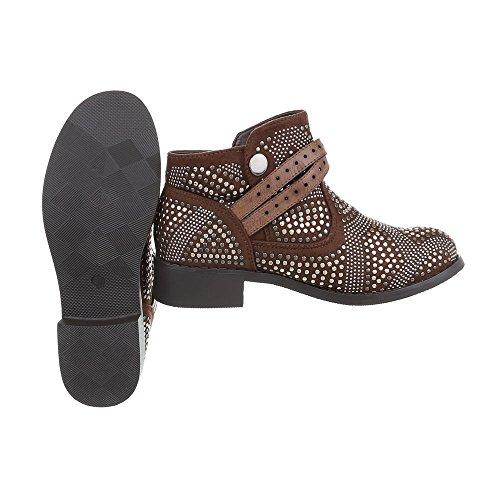 Zapatos para mujer Botas Tacón ancho Botas Western Ital-Design Marrón