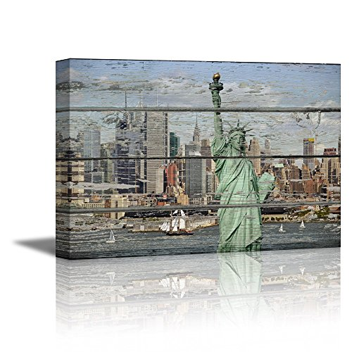 The Statue of Liberty and New York Harbour on Vintage Wood Background Rustic ation