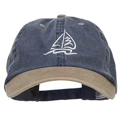 Sailboat Wave Embroidered Washed Two Tone Cap - Navy Khaki -