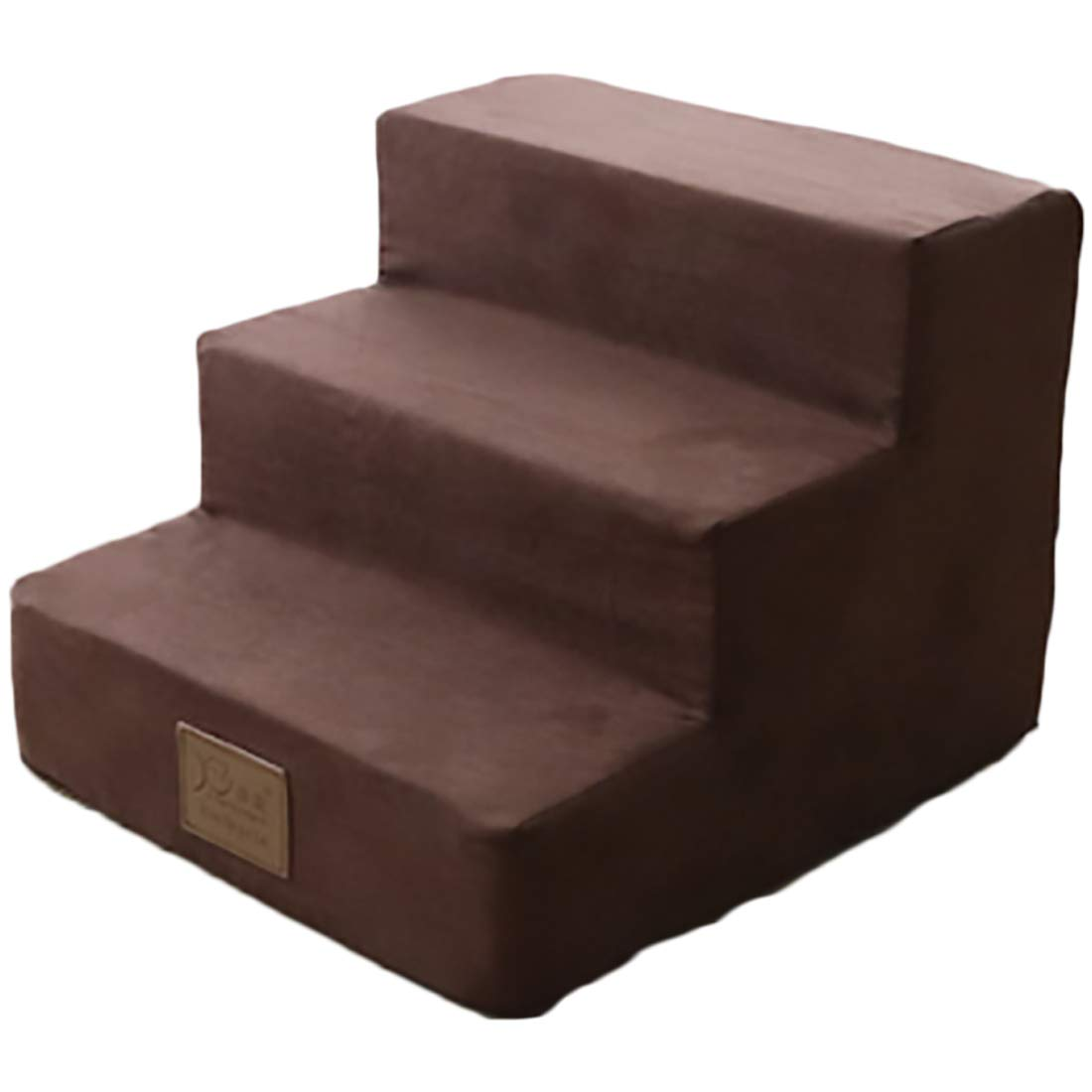 Dog Steps for High Bed Pet Stairs Dog Stairs Going Up to The Climb Ladder Dog Mat Sponge Mats Suede Family Favorite Brown