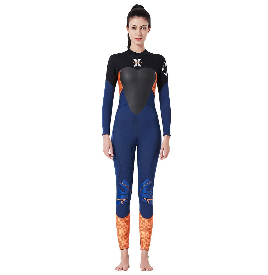 Onegirl Women's Keep Warm Wetsuit Sunscreen Swimming Surfing and Snorkeling Diving Coverall Suit Blue