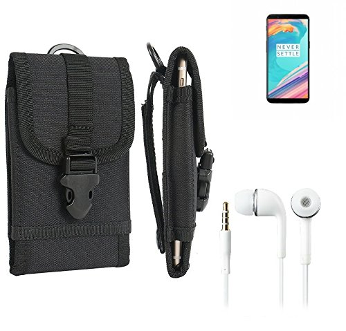 bolsa del cinturón / funda para OnePlus 5T, negro + Auriculares | caja del teléfono cubierta protectora bolso - K-S-Trade (TM)