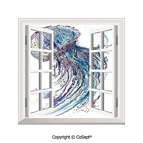 SCOXIXI Open Window Wall Mural,Aqua Colors Art Ocean Animal Print Sketch Style Creative Sea Marine Theme,for Living Room(26.65x20 inch)