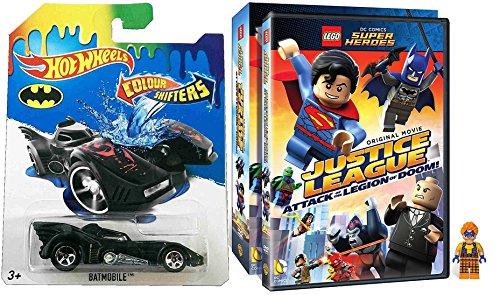 Lego Justice League Legion of Doom with Minifigure DVD & Hot Wheels Color Shifter Batmobile car Lego Figure Animated Movie Super Hero Batman Superman Set