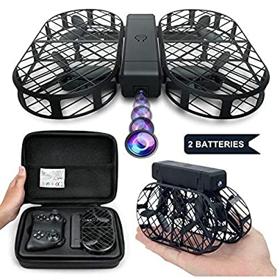 WIFI FPV Drone with 720P HD Camera DWI Dowellin Foldable Drone with Altitude Hold and One Key Take Off Landing RC Quadcopter with 2 pcs 3.7V 380mAh Lipo Batteries D7 Black from Dwi Dowellin