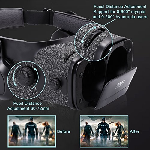 Ultralight Virtual Reality Headset with Stereo Headphones, 3D VR Glasses for VR games & 3D Movies, Comfortable & Immersive Experience VR Goggles for 4.7 - 6 inch IOS/Android Smartphones by geek-2016 (Image #2)