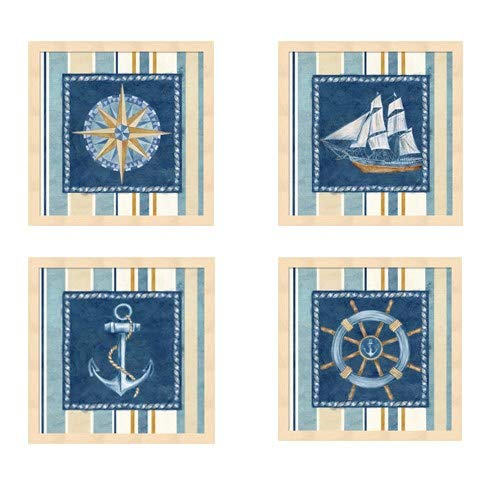 Metaverse Cynthia Coulter 'Nautical Stripe' Framed Art (Pack of 4) ()
