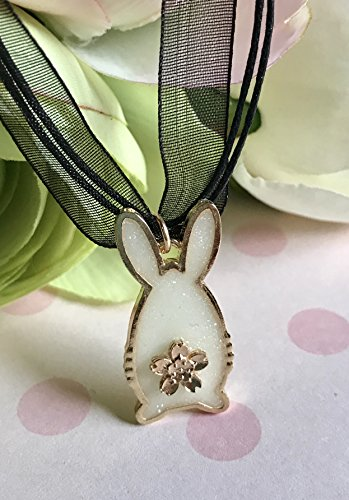 Glitter White Glow In The Dark Bunny Pendant Necklace with Golden Sakura Flower Tail - Glasses Frames Bum
