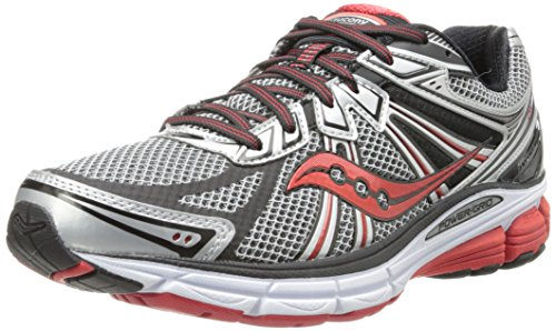 Saucony Men's Omni 13 Running Shoe,Silver/Red/Black,10.5 W US