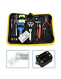 Sumnacon Professional Watchmakers' Tools Case - Watch Repair Tool Kit with Free 270 Pcs Watch Strap Spring Pins(8-25mm) + Watch Holder(for 10-45mm Diameter Watch)