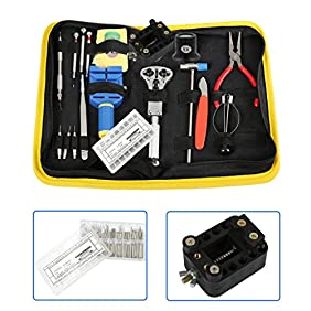 Sumnacon Professional Watchmakers' Tools Case - Watch Repair Tool Kit with Free 270 Pcs Watch Strap Spring Pins(8-25mm) + Watch Holder( for 10-45mm Diameter Watch)