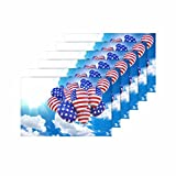 InterestPrint Balloon America Flag Sky Independence Day Placemat Place Mat Set of 6, Table Place Mats for Kitchen Dining Table Restaurant Home Decor 12''x18''